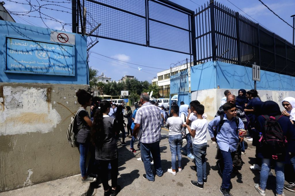 BEIRUT, Sept. 3, 2018 - Students walk into one of the United Nations Relief and Works Agency(UNRWA) schools on the first day of new academic year in Beirut, Lebanon, on Sept. 3, 2018. Lebanese ... - Nabih Berri