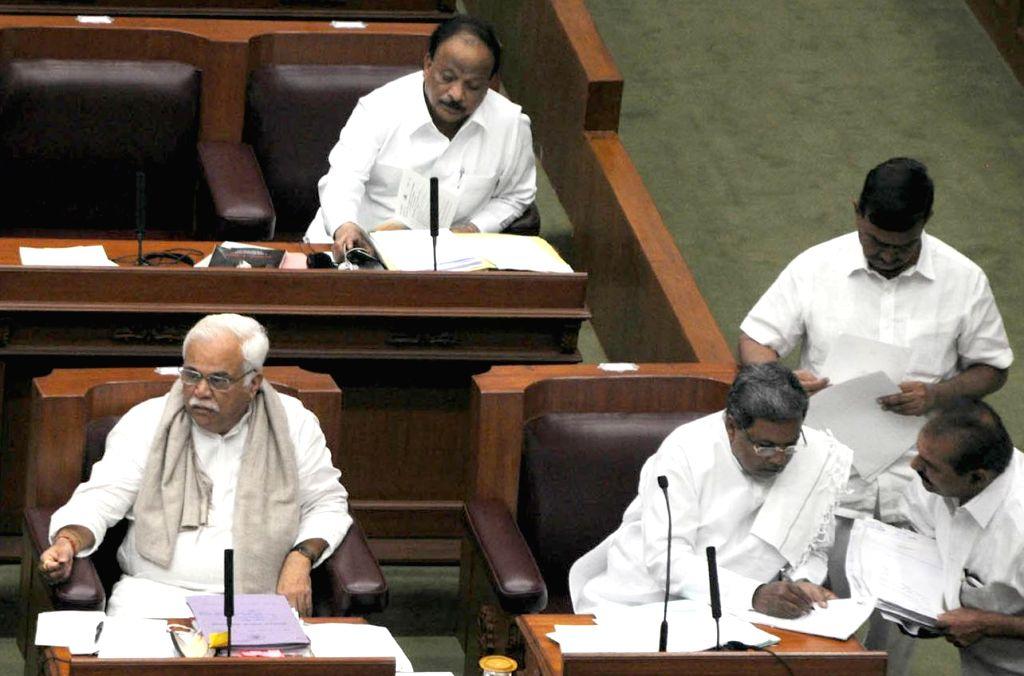 Karnataka Chief Minister Siddaramaiah during the winter session of the Karnataka Legislative Assembly at  Belagavi on Dec 10, 2014. - Siddaramaiah