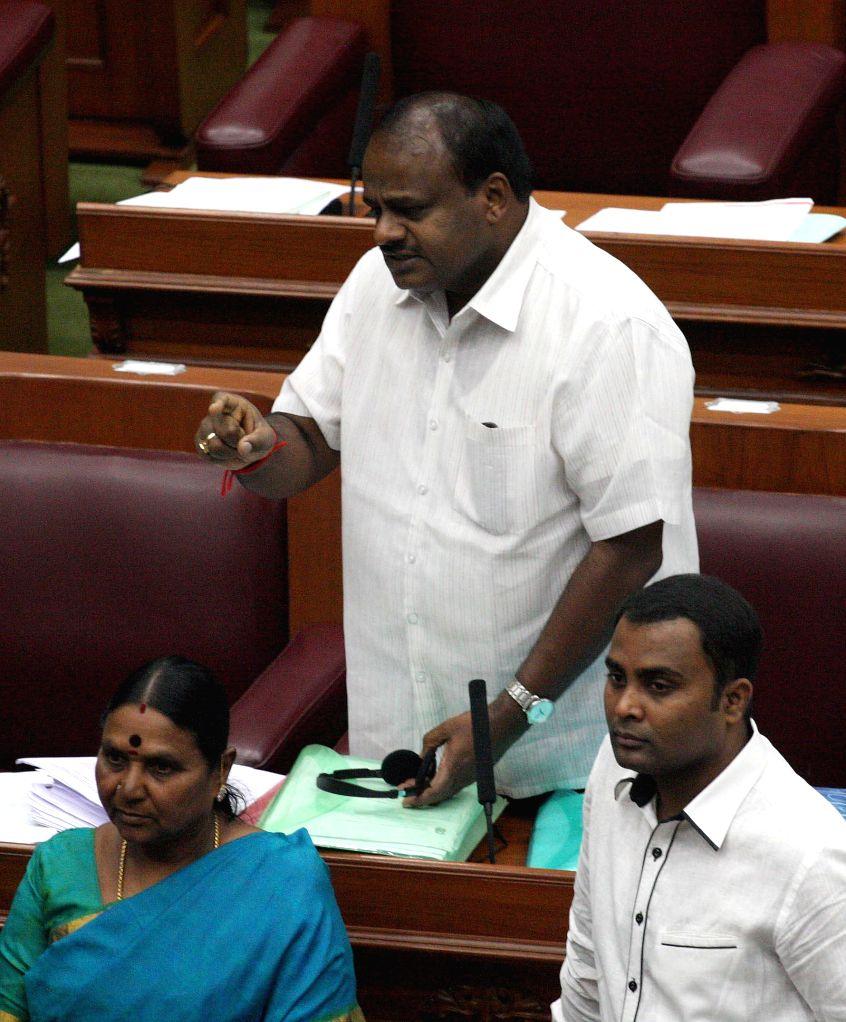 Karnataka Legislative Minister H D Kumaraswamy addresses during the winter session of Karnataka assembly at Suvarna Soudha, in Belagavi on Dec 15, 2014. - H D Kumaraswamy
