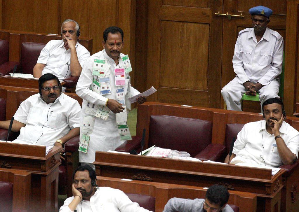 Karnataka legislators during the winter session of the Karnataka Legislative Assembly at  Belagavi on Dec 10, 2014.