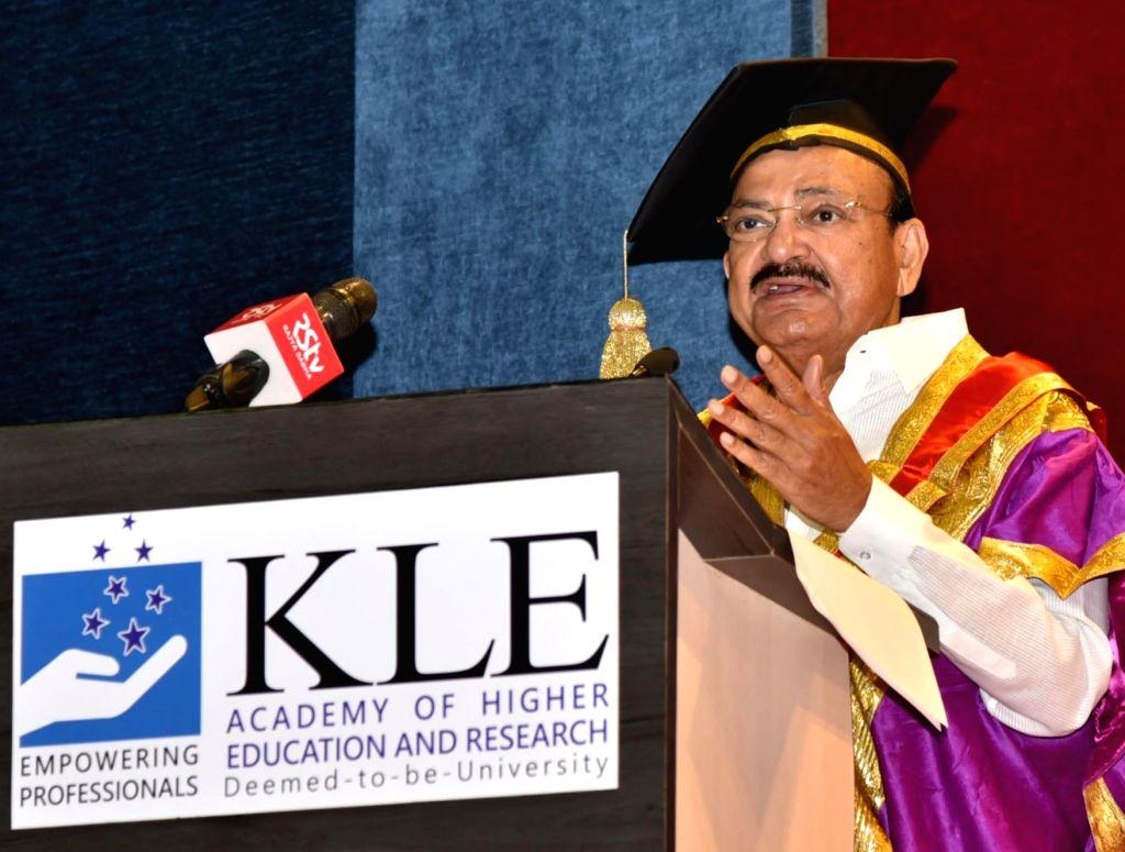 Belagavi (Karnataka): Vice President M. Venkaiah Naidu addresses the 9th Convocation of KLE Academy of Higher Education and Research in Belagavi, Karnataka on April 25, 2019. - M. Venkaiah Naidu