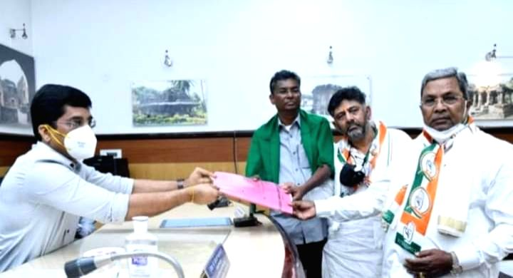 Belagavi Nomination filed by Satish Jarkiholi as congress candidate. ( Credit : Siddaramaiah/twitter)
