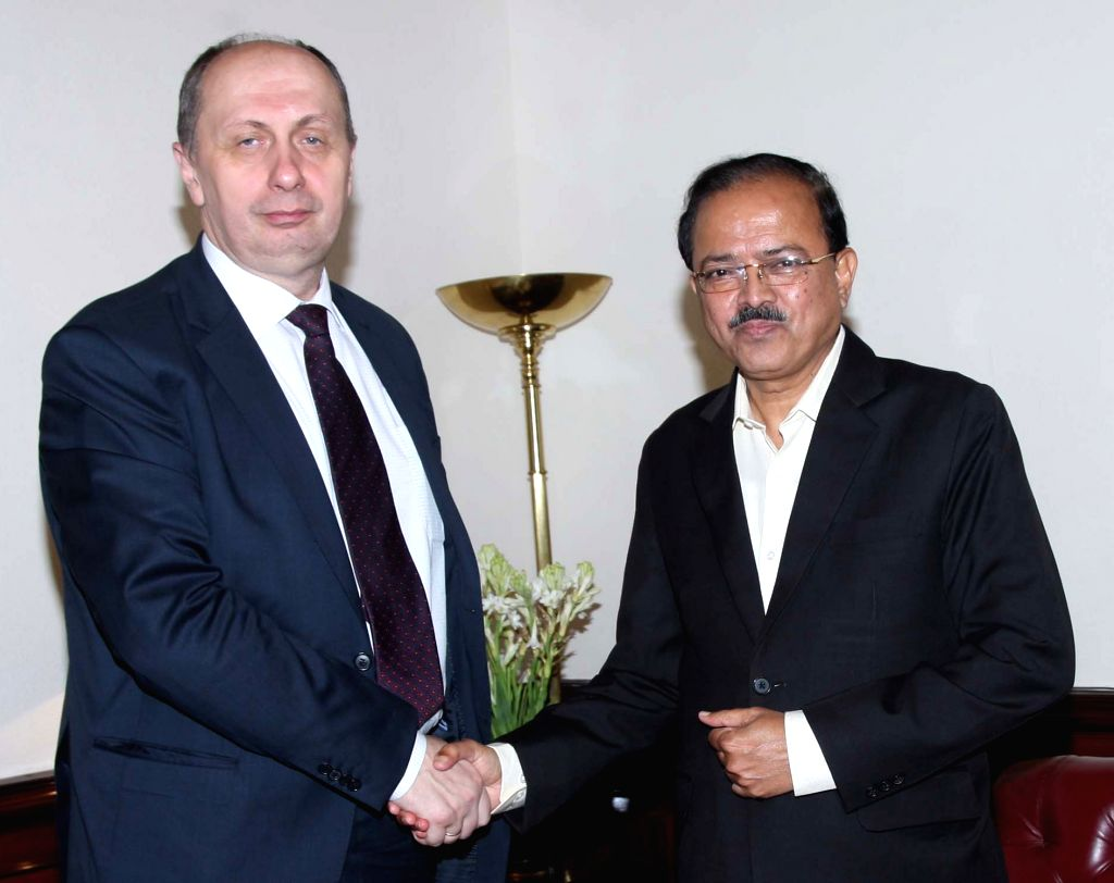 Belarus Industry Minister Vitaly Vovk calls on Union MoS for Defence Subhash Ramrao Bhamre in New Delhi, on July 4, 2017. - Vitaly Vovk