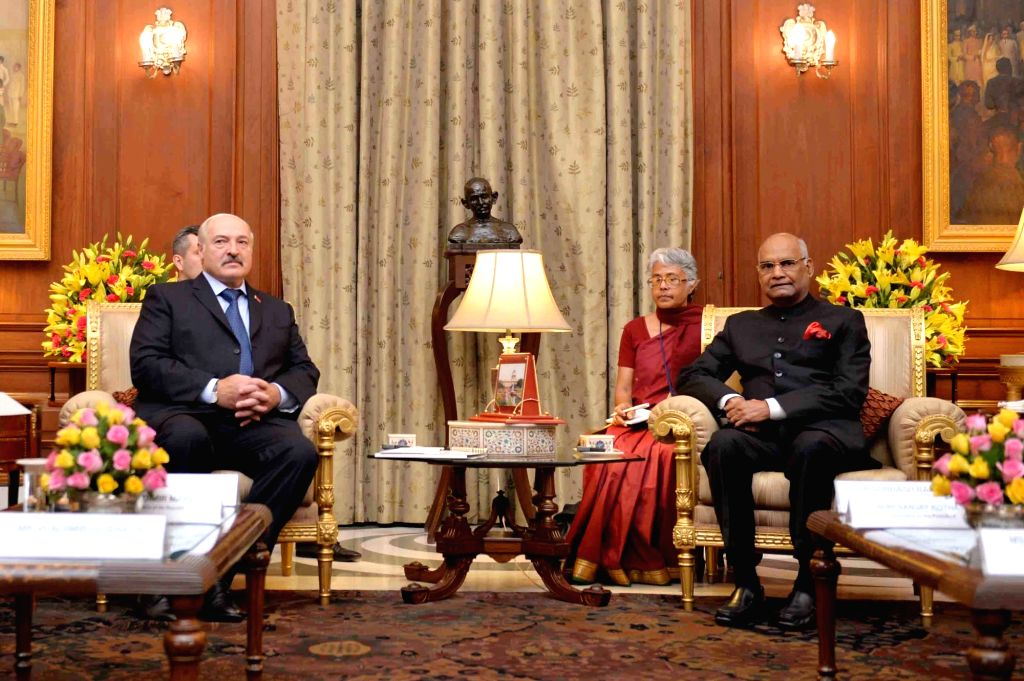 Belarus President Alexander Lukashenko calls on President Ram Nath Kovind at Rashtrapati Bhavan in New Delhi on Sept 12, 2017. - Nath Kovind