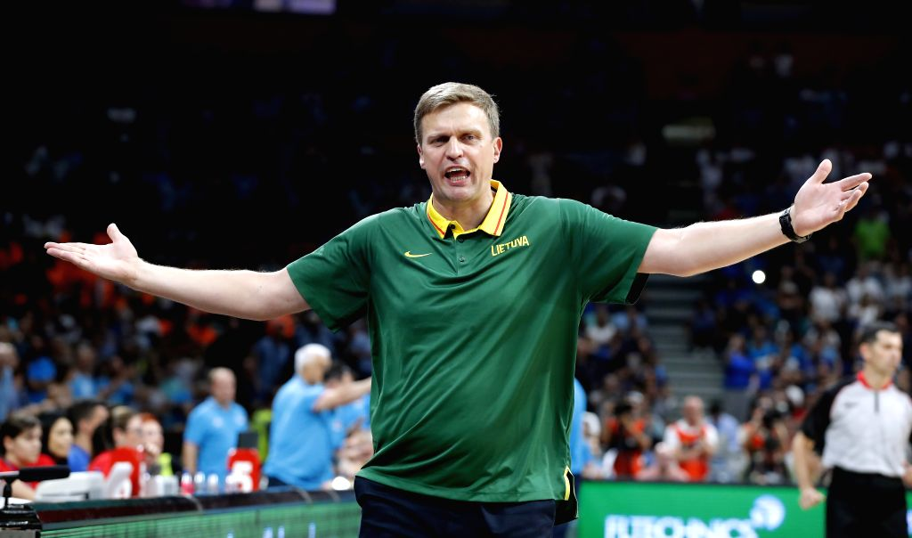 BELGRADE, Aug. 11, 2019 - Lithuania's head coach Dainius Adomaitis gestures during a friendly basketball match between Serbia and Lithuania in Belgrade, Serbia on Aug. 10, 2019.