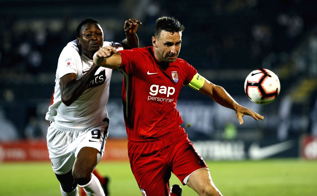 BELGRADE, Aug. 2, 2019 - Connahs Quay Nomads' George Horan (R) vies with Partizan's Umar Sadiq during UEFA Europa League second qualifying round match between Partizan of Serbia and Connahs Quay ...