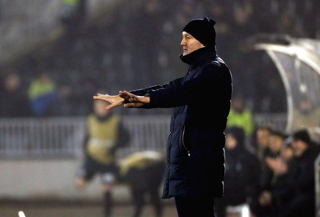 BELGRADE, Dec. 13, 2019 - Astana's head coach Roman Grygorchuk gestures during a UEFA Europa League Group L football match between Partizan and Astana in Belgrade, Serbia on Dec. 12, 2019.