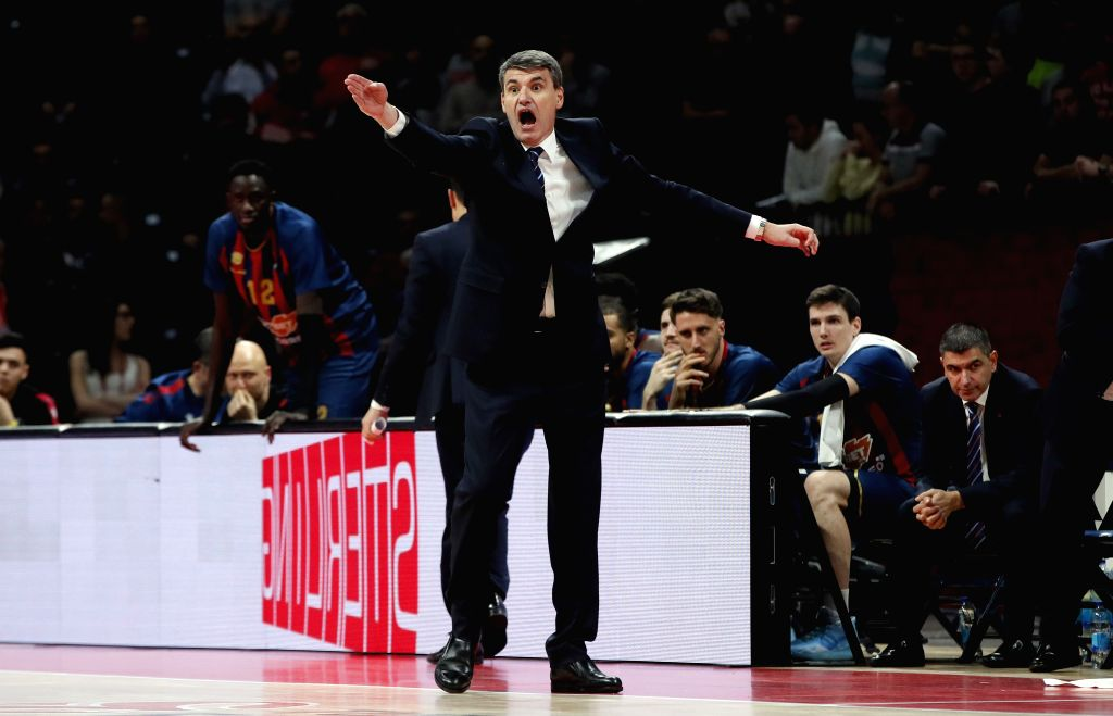 BELGRADE, Dec. 13, 2019 - Baskonia's head coach Velimir Perasovic reacts during the regular season round 13 of the Euroleague basketball match between Crvena Zvezda and Baskonia in Belgrade, Serbia ...