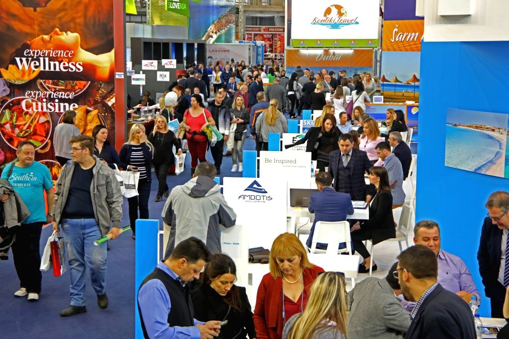 "BELGRADE, Feb. 21, 2019 - People visit the 41st International Belgrade Tourism Fair in Belgrade, Serbia, on Feb. 21, 2019. The international tourism fair under the slogan ""Summer is Closer than ..."