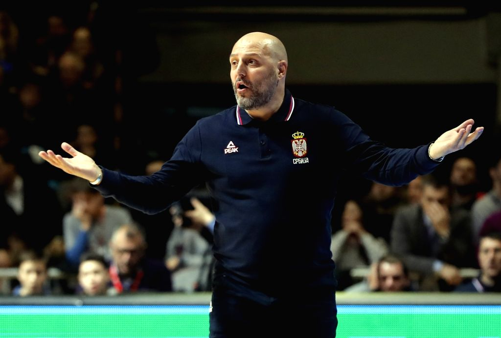 BELGRADE, Feb. 25, 2019 - Serbia's head coach Aleksandar Djordjevic gestures during FIBA World Cup group L basketball qualifying match between Serbia and Israel in Belgrade, Serbia, on Feb. 24, 2019. ...