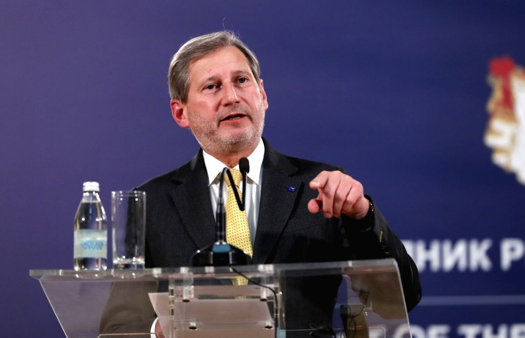 BELGRADE, Feb. 7, 2018 - European Union Commissioner for enlargement and neighborhood policy Johannes Hahn speaks at a joint press conference with Serbian President Aleksandar Vucic (not in the ...