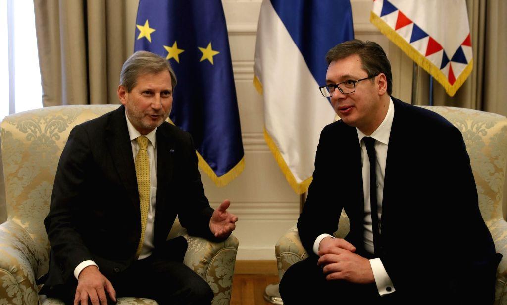BELGRADE, Feb. 7, 2018 - Serbian President Aleksandar Vucic (R) meets with European Union Commissioner for enlargement and neighborhood policy Johannes Hahn in Belgrade, Serbia, on Feb. 7. 2018. ...