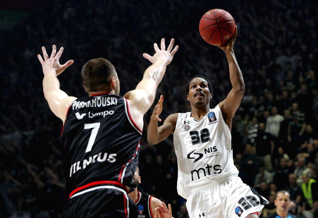 BELGRADE, Jan. 31, 2019 - Partizan's Alex Renfroe (R) competes during the Top 16 round 5 Eurocup basketball match between Partizan and Rytas in Belgrade, Serbia on Jan. 30, 2019.