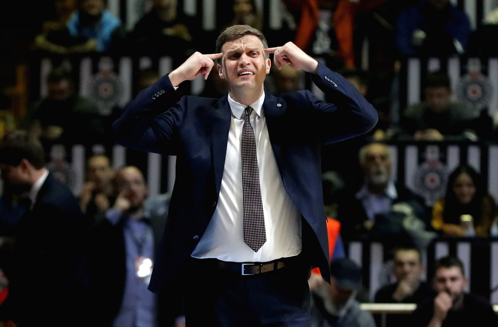 BELGRADE, Jan. 31, 2019 - Rytas' head coach Dainius Adomaitis gestures during the Top 16 round 5 Eurocup basketball match between Partizan and Rytas in Belgrade, Serbia on Jan. 30, 2019.