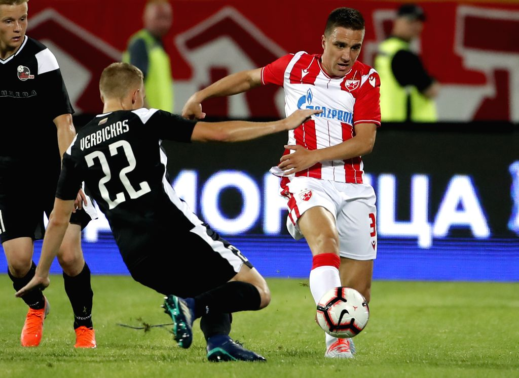 BELGRADE, July 17, 2019 - Crvena Zvezda's Branko Jovicic (R) vies with Suduva's Ovidijus Verbickas during UEFA Champions League first qualifying round football match in Belgrade, Serbia on July 16, ...
