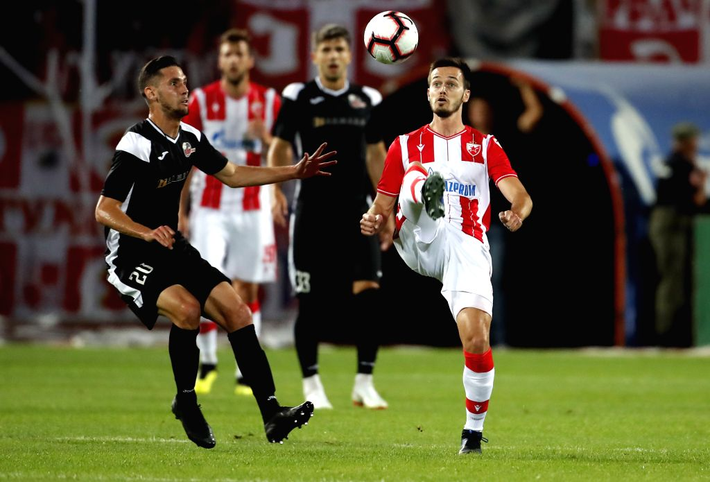BELGRADE, July 17, 2019 - Crvena Zvezda's Mirko Ivanic (R) vies with Suduva's Jovan Cadjenovic during UEFA Champions League first qualifying round football match in Belgrade, Serbia on July 16, 2019. ...