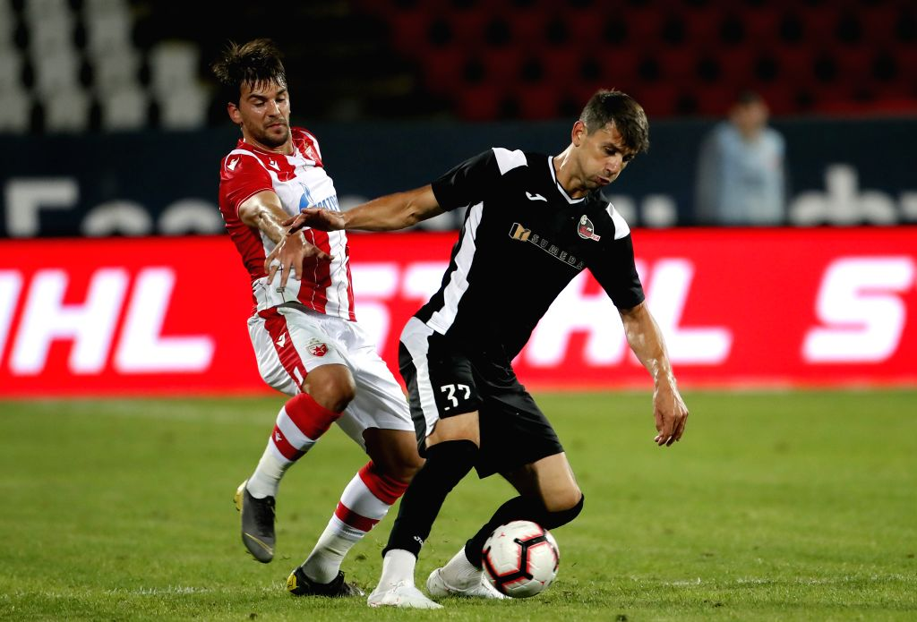 BELGRADE, July 17, 2019 - Suduva's Robertas Vezevicius (R) vies with Crvena Zvezda's Filip Stojkovic during UEFA Champions League first qualifying round football match in Belgrade, Serbia on July 16, ...