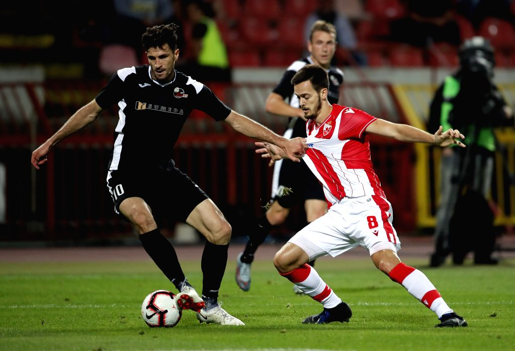 BELGRADE, July 17, 2019 - Suduva's Samir Kerla (L) vies with Crvena Zvezda's Mirko Ivanic during UEFA Champions League first qualifying round football match in Belgrade, Serbia on July 16, 2019. ...