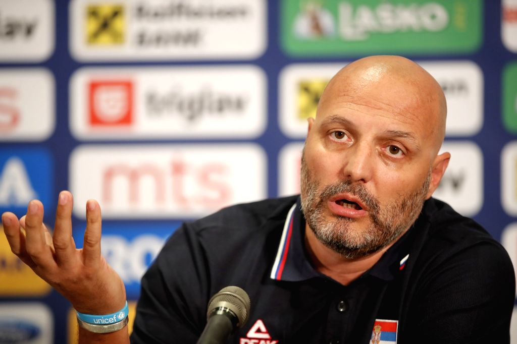 BELGRADE, July 19, 2019 - Serbia's national basketball team head coach Aleksandar Djordjevic speaks during a press conference in Belgrade, Serbia on July 18, 2018.