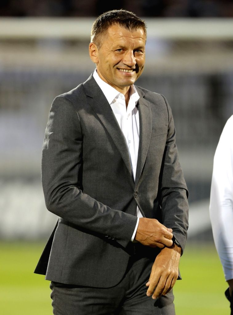 BELGRADE, July 20, 2018 - Partizan's coach Miroslav Djukic smiles during the first qualifying round UEFA Europa League football match between Partizan and Rudar in Belgrade, Serbia on July 19, 2018. ...
