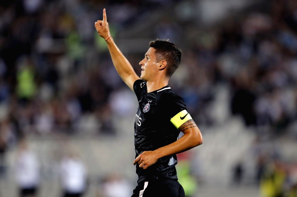 BELGRADE, July 20, 2018 - Partizan's Danilo Pantic celebrates after scoring the first qualifying round UEFA Europa League football match between Partizan and Rudar in Belgrade, Serbia on July 19, ...