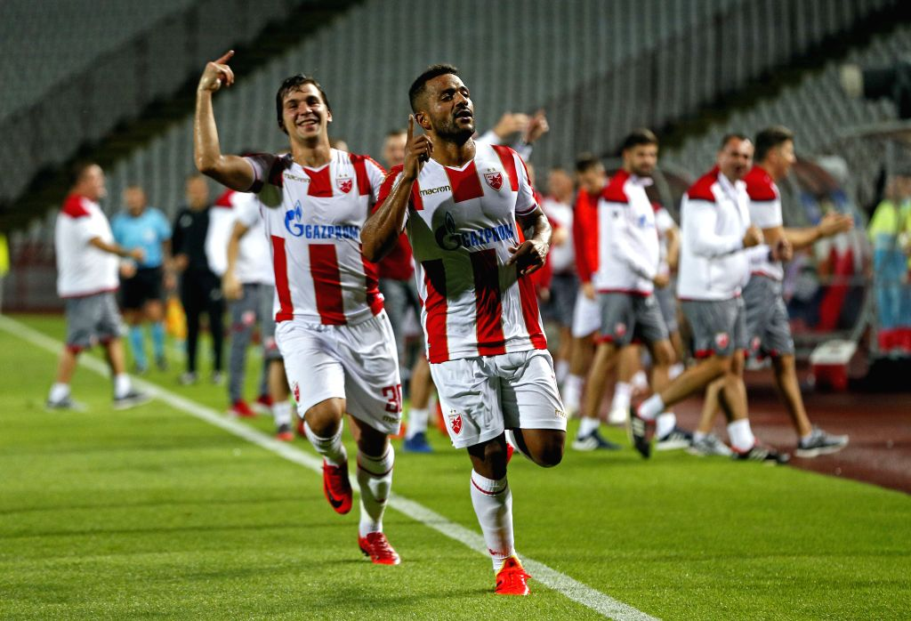 BELGRADE, July 25, 2018 - Crvena Zvezda's Filip Stojkovic (front L) and Lorenzo Ebecilio (front R) celebrate a goal during the UEFA Champions League second qualifying round football match between ...