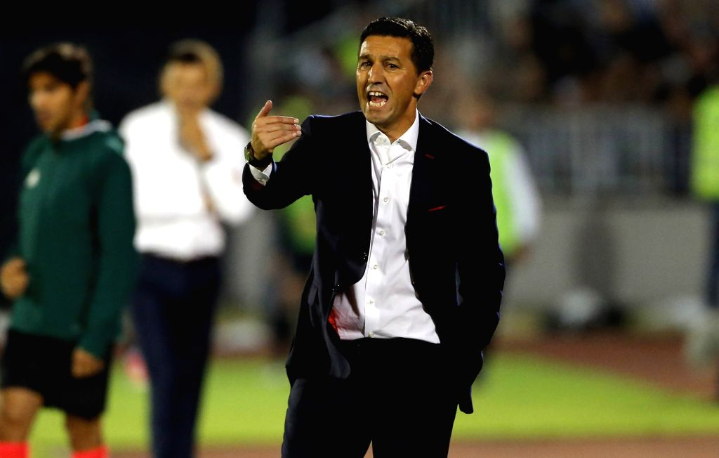 BELGRADE, July 26, 2017 - Olympiacos's head coach Besnik Hasi gestures during the UEFA Champions League qualifying football match between Partizan and Olympiacos in Belgrade, Serbia on July 25. 2017. ...