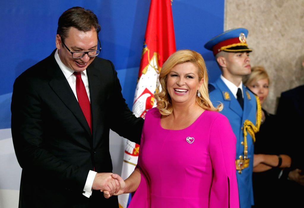 BELGRADE, June 23, 2017 - The newly-elected Serbian President Aleksandar Vucic (L) shakes hands with Croatian President Kolinda Grabar-Kitarovic during Vucic's inauguration ceremony in Belgrade, ...