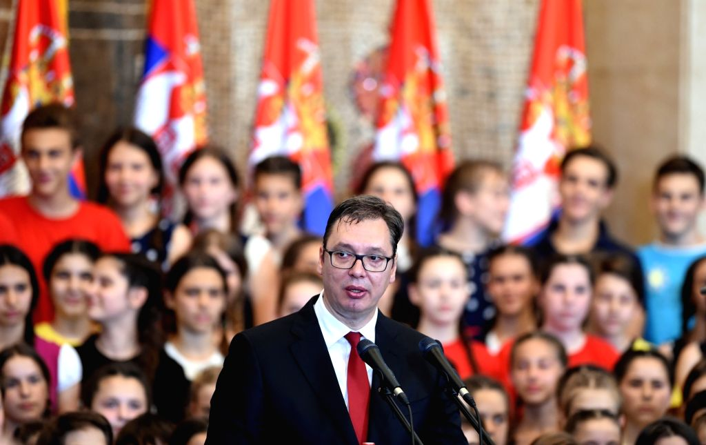 BELGRADE, June 23, 2017 - The newly-elected Serbian President Aleksandar Vucic addresses his inauguration ceremony in Belgrade, capital of Serbia, on June 23, 2017. Serbia is ready to work together ...