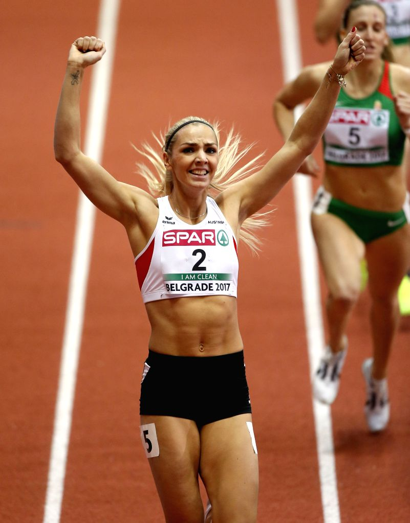 BELGRADE, March 4, 2017 - Austria's Ivona Dadic (L) celebrates winning the silver medal in women's pentathlon competition during the 2017 European Athletics Indoor Championships at the Kombank Arena ...