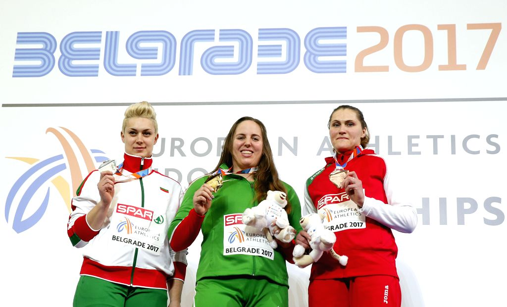 BELGRADE, March 4, 2017 - Bulgaria's silver medalist Radoslava Mavrodieva (L), Hungary's gold medalist Anita Marton (C) and Belarus' bronze medalist Yulia Leantsiuk pose on the podium during the ...