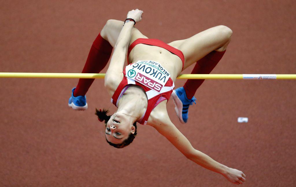 BELGRADE, March 4, 2017 - Marija Vukovic of Montenegro competes in women's high jump qualifications during the 2017 European Athletics Indoor Championships at the Kombank Arena in Belgrade, Serbia, ...