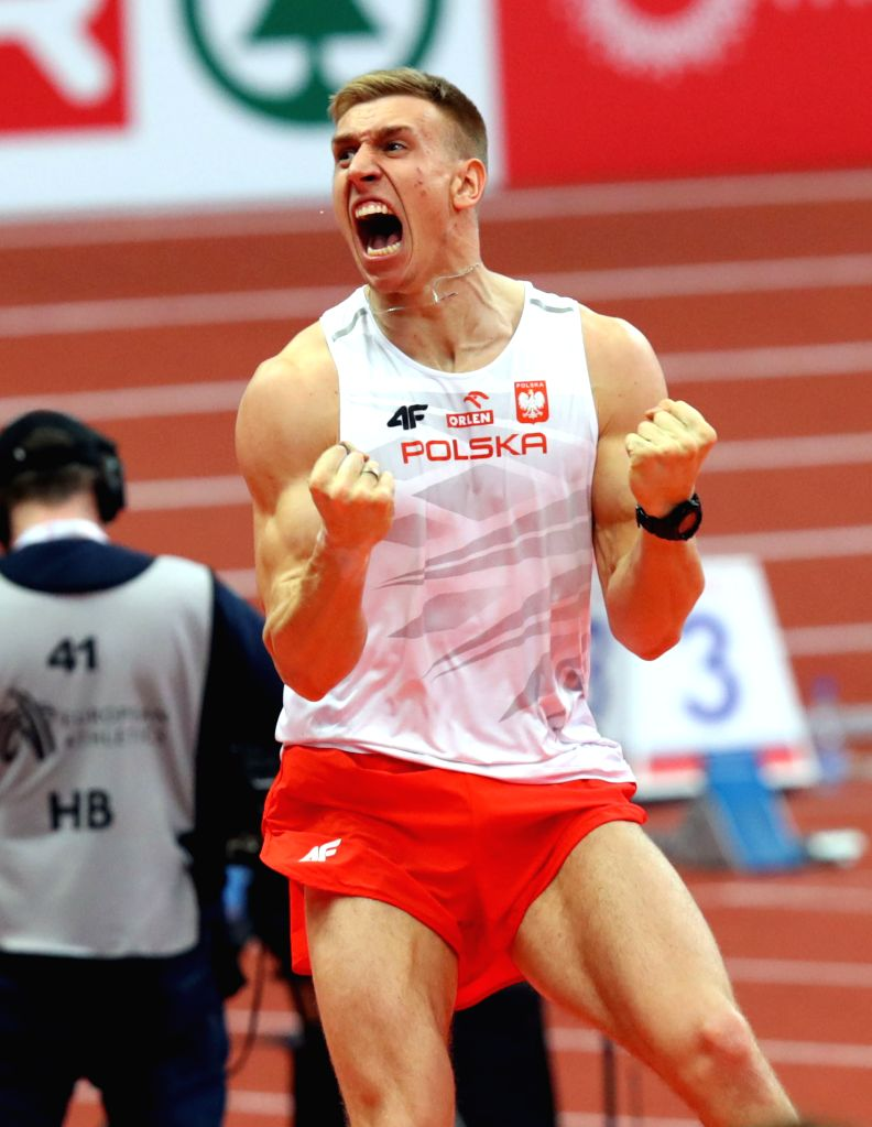 BELGRADE, March 4, 2017 - Piotr Lisek from Poland celebrates winning gold medal in men's pole vault during the 2017 European Athletics Indoor Championships at the Kombank Arena in Belgrade, Serbia, ...