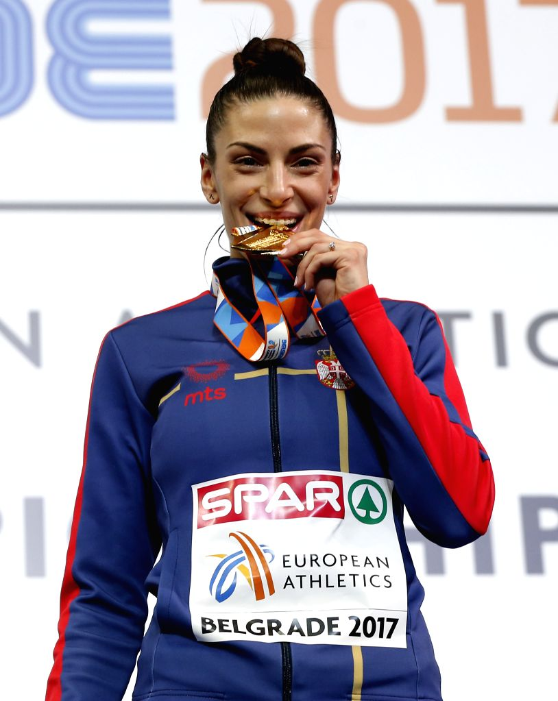 BELGRADE , March 6, 2017 - Gold medalist Ivana Spanovic of Serbia poses on the podium during the victory ceremony for the women's long jump at the 2017 European Athletics Indoor Championships in ...