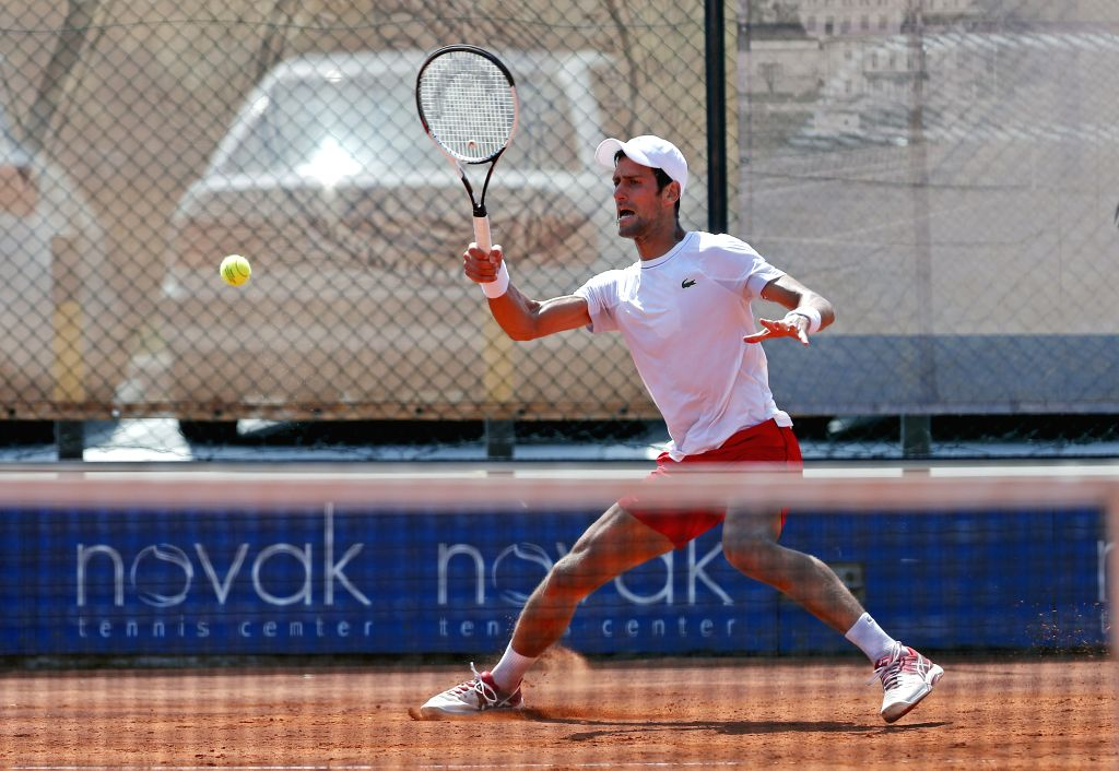 BELGRADE, May 2, 2018 - Serbia's tennis player Novak Djokovic returns a ball during an open training session in Belgrade, Serbia on May 2, 2018.