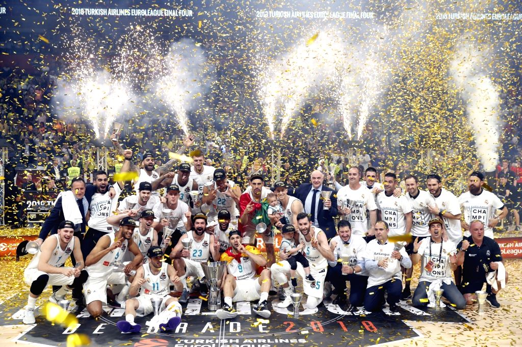 BELGRADE, May 21, 2018 - Real Madrid's team members celebrate after Euroleague Final match of basketball in Belgrade, Serbia on May 20, 2018. Real Madrid beat Fenerbahce 85-80 and claimed the title.
