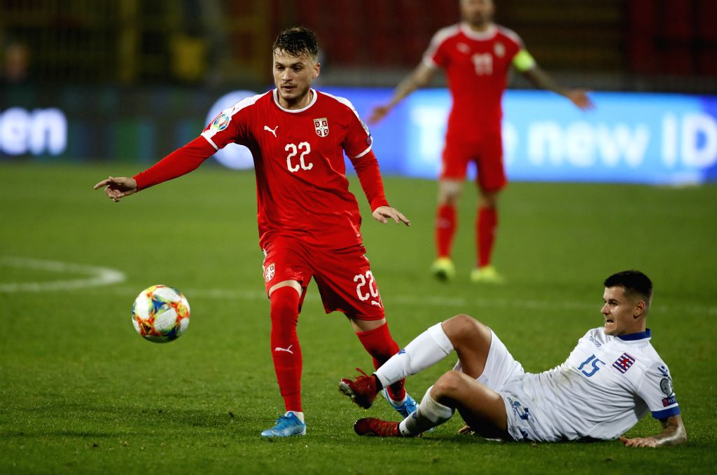 BELGRADE, Nov. 15, 2019 - Serbia's Adem Ljajic (L) vies with Luxembourg's Olivier Thill during the group B match at the UEFA Euro 2020 qualifier in Belgrade, Serbia on Nov. 14, 2019. Serbia won 3-2.