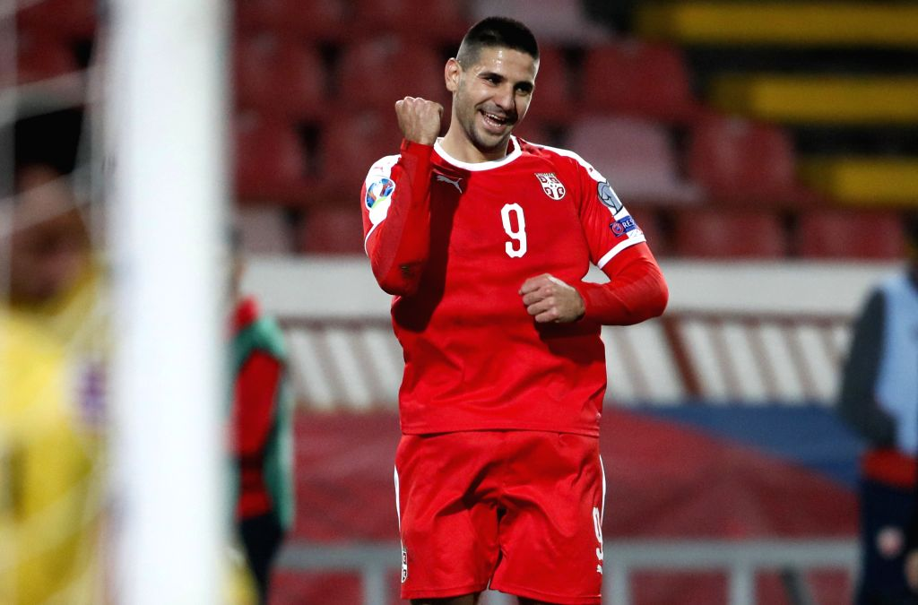 BELGRADE, Nov. 15, 2019 - Serbia's Aleksandar Mitrovic celebrates after scoring during the group B match against Luxembourg at the UEFA Euro 2020 qualifier in Belgrade, Serbia on Nov. 14, 2019. ...