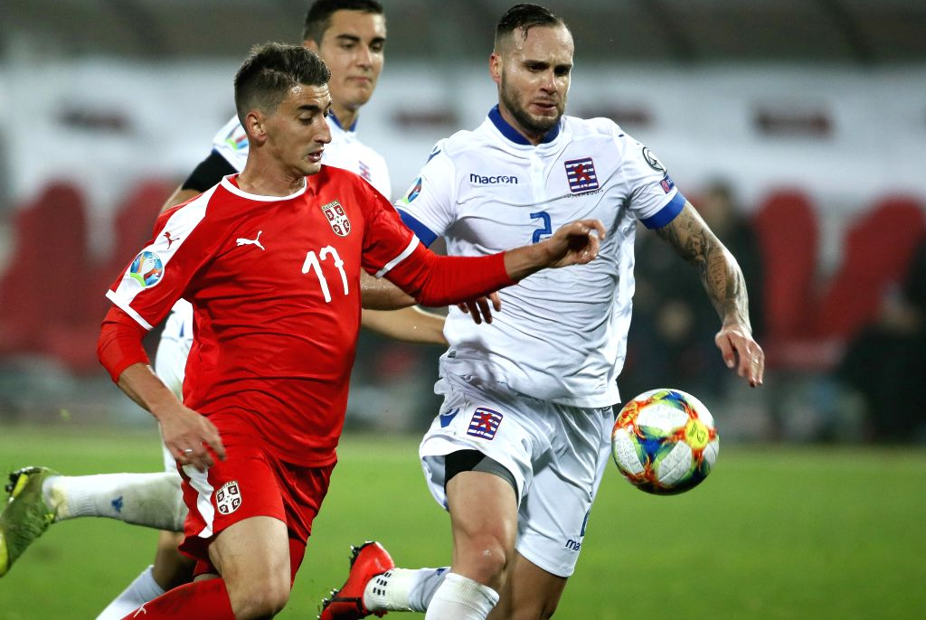 BELGRADE, Nov. 15, 2019 - Serbia's Filip Djuricic (L) vies with Luxembourg's Maxime Chanot during the group B match at the UEFA Euro 2020 qualifier in Belgrade, Serbia on Nov. 14, 2019. Serbia won ...