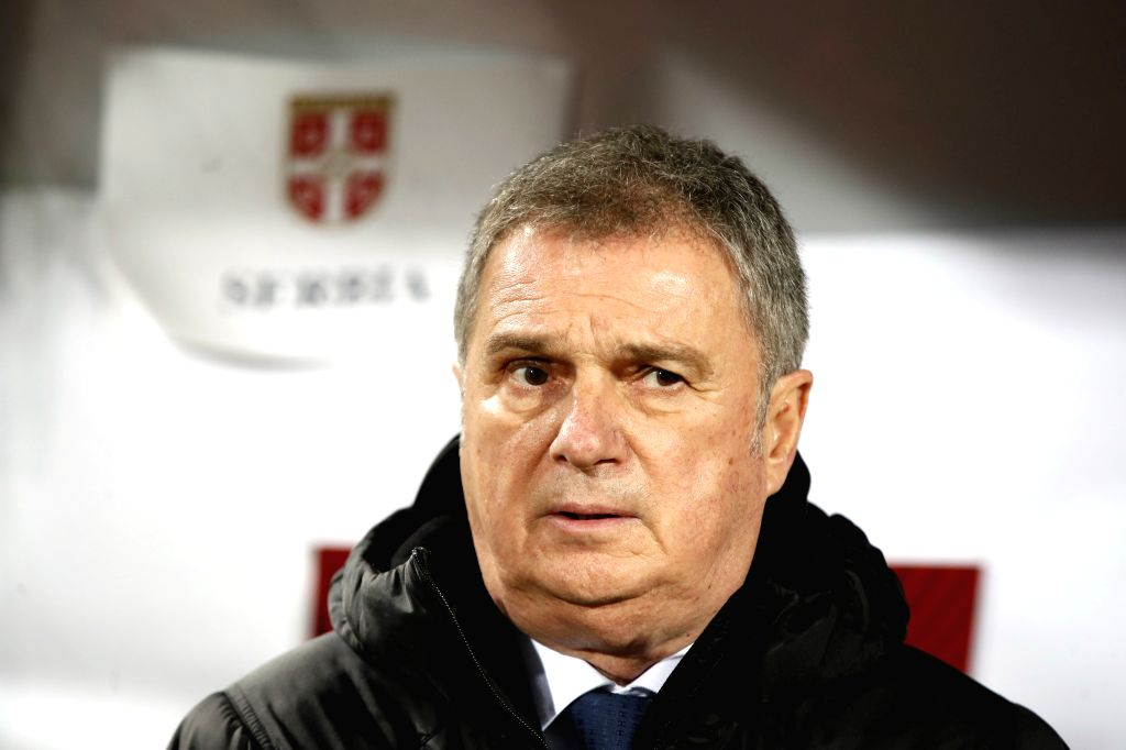 BELGRADE, Nov. 15, 2019 - Serbia's head coach Ljubisa Tumbakovic looks on during the group B match against Luxembourg at the UEFA Euro 2020 qualifier in Belgrade, Serbia on Nov. 14, 2019. Serbia won ...