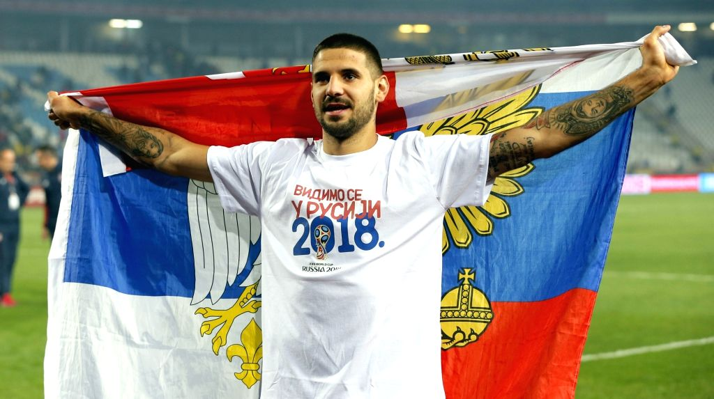 BELGRADE, Oct. 10, 2017 - Serbia's Aleksandar Mitrovic celebrates after winning the FIFA World Cup Qualifying Group D match between Serbia and Georgia in Belgrade, Serbia on Oct. 9, 2017. Serbia won ...