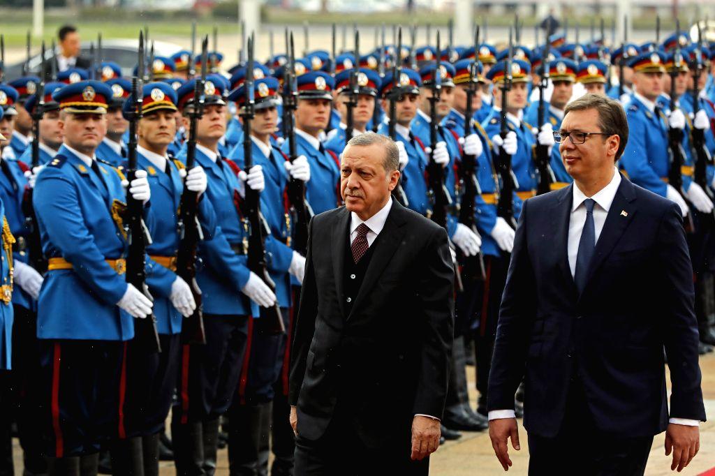 BELGRADE, Oct. 10, 2017 - Serbian President Aleksandar Vucic (R) and his Turkish counterpart Recep Tayyip Erdogan inspect the guard of honor in Belgrade, Serbia on Oct. 10, 2017.