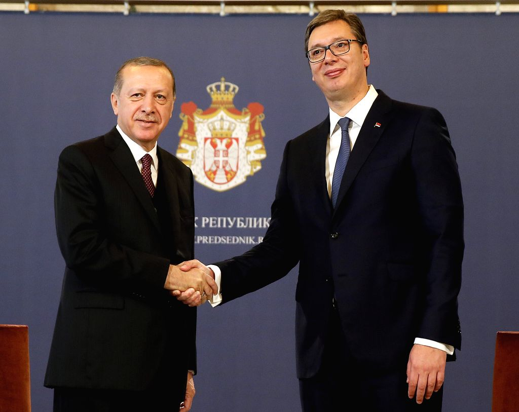BELGRADE, Oct. 10, 2017 - Serbian President Aleksandar Vucic (R) and his Turkish counterpart Recep Tayyip Erdogan shake hands during a welcoming ceremony in Belgrade, Serbia on Oct. 10, 2017.