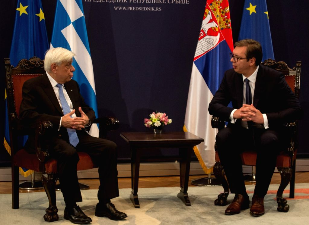 BELGRADE, Oct. 2, 2017 - Visiting Greek President Prokopis Pavlopoulos (L) talks to his Serbian counterpart Aleksandar Vucic in Belgrade, Serbia, Oct. 2, 2017. Greece will support Serbia as well as ...