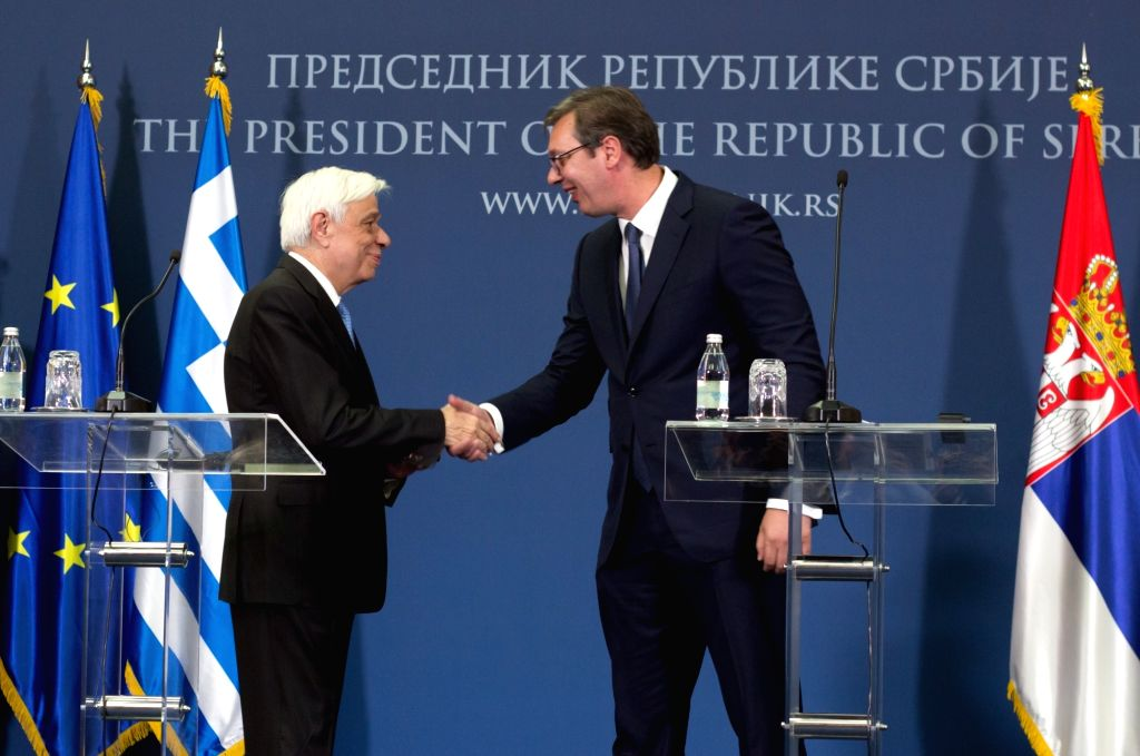 BELGRADE, Oct. 2, 2017 - Visiting Greek President Prokopis Pavlopoulos (L) shakes hands with his Serbian counterpart Aleksandar Vucic at a joint press conference in Belgrade, Serbia, Oct. 2, 2017. ...