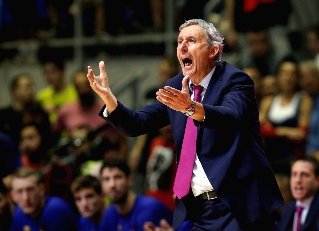 BELGRADE, Oct. 25, 2019 - Barcelona's head coach Svetislav Pesic reacts during the regular season Round 4 match at EuroLeague basketball tournament between Crvena Zvezda and Barcelona in Belgrade, ...