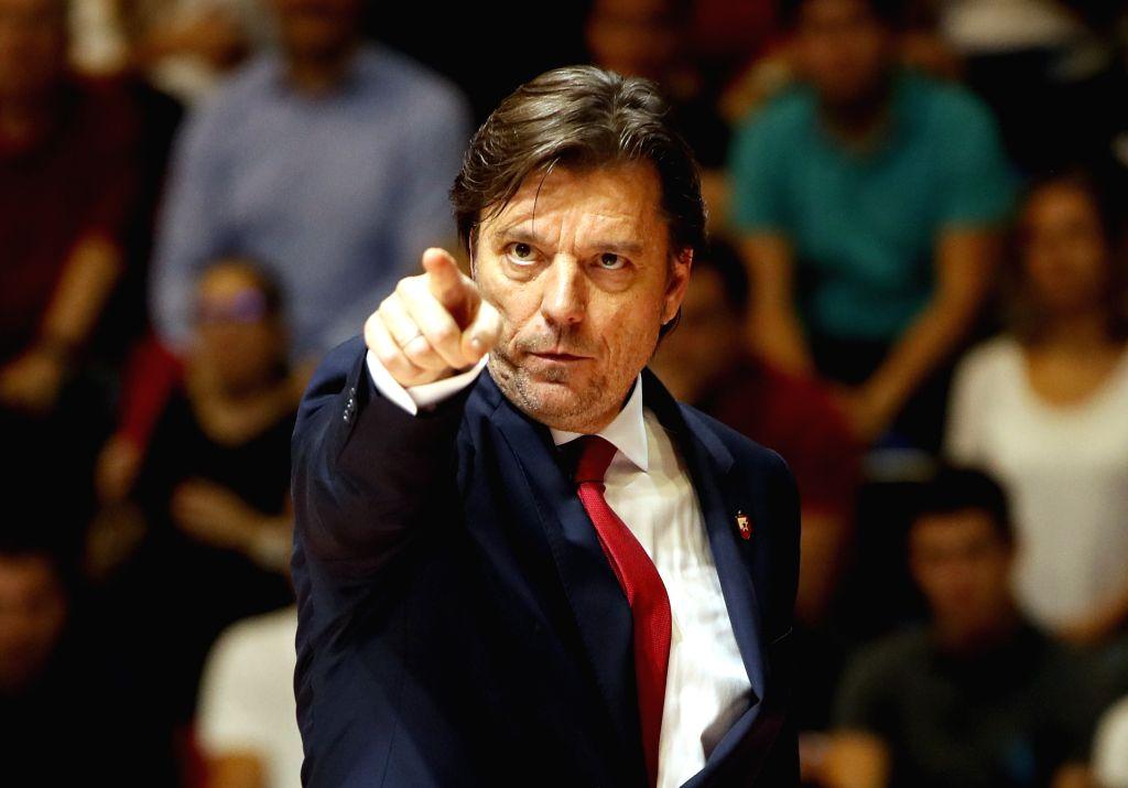 BELGRADE, Oct. 25, 2019 - Crvena Zvezda's head coach Andrija Gavrilovic gestures during the regular season Round 4 match at EuroLeague basketball tournament between Crvena Zvezda and Barcelona in ...