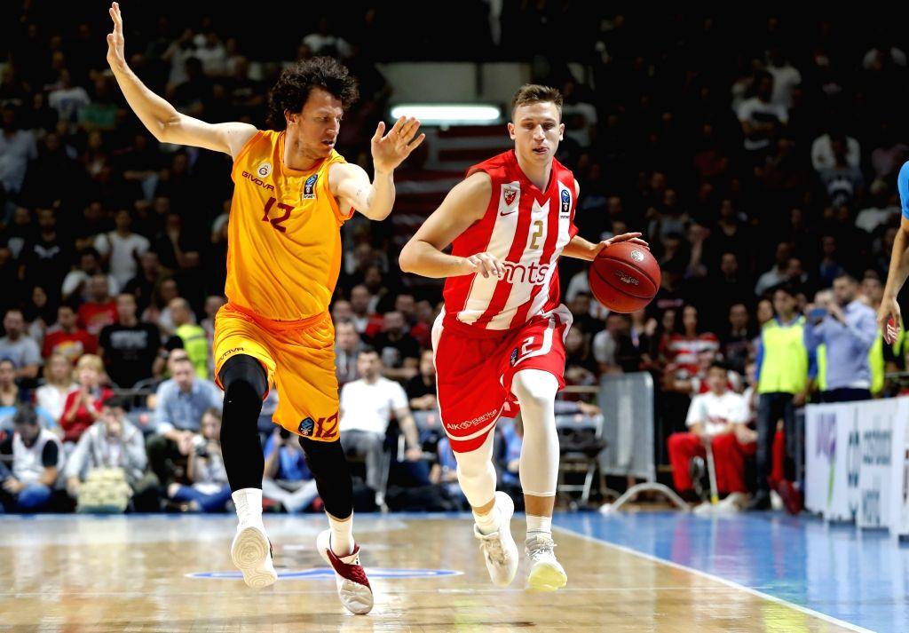 BELGRADE, Oct. 31, 2018 - Crvena Zvezda's Aleksa Radanov (R) vies with Galatasaray's Caner Erdeniz during the 5th round match at the regular season of 2018-2019 Eurocup basketball tournament between ...