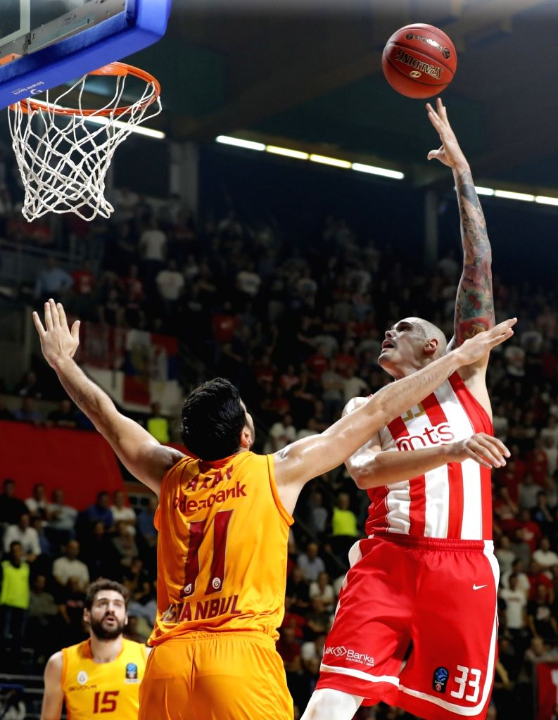 BELGRADE, Oct. 31, 2018 - Crvena Zvezda's Maik Zirbes (R) shoots during the 5th round match at the regular season of 2018-2019 Eurocup basketball tournament between Crvena Zvezda and Galatasaray in ...