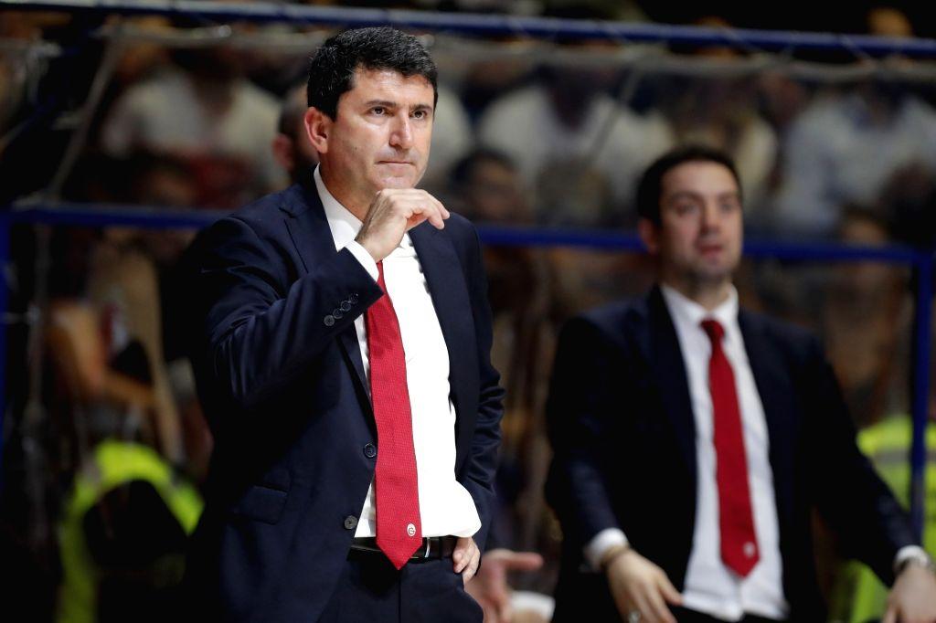 BELGRADE, Oct. 31, 2018 - Galatasaray's head coach Ertugrul Erdogan (L) gestures during the 5th round match at the regular season of 2018-2019 Eurocup basketball tournament between Crvena Zvezda and ...